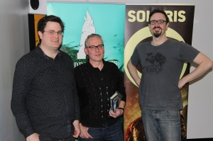 Chatting with Solaris Editor Jonathan Oliver (left) and publicist Mike Molcher after we wrap the interview.